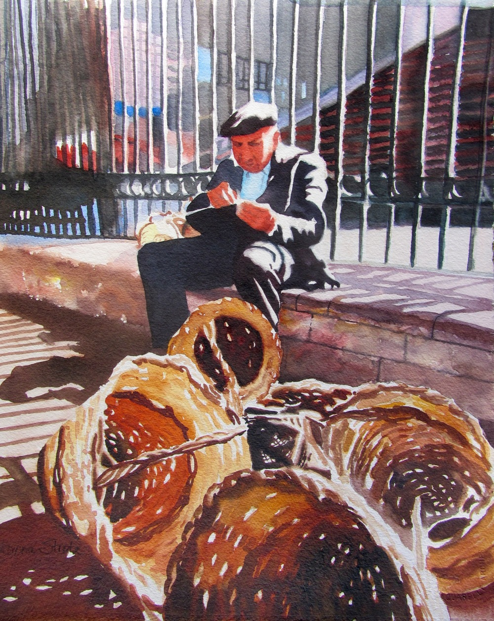 "Basketmaker, Watercolor, 20"" x 14 "", $750."