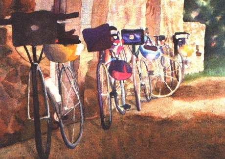 "Waiting Bicycles, Watercolor Giclee, 14"" x 17.5"", $100."
