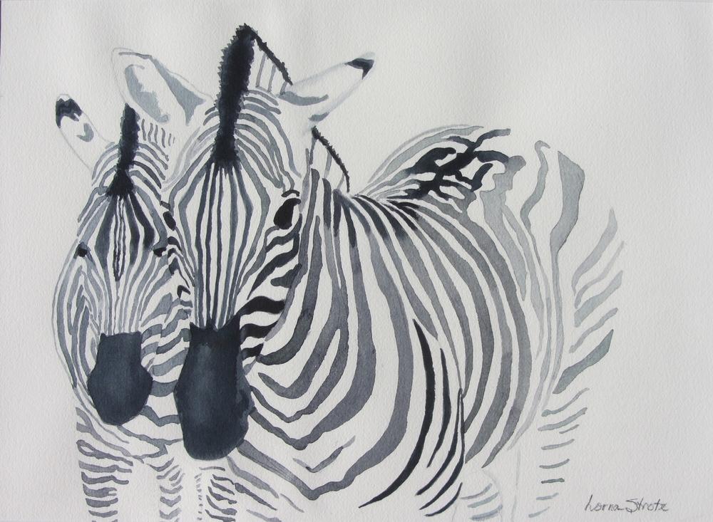 """Zebras, 18"""" x 13.5"""""""