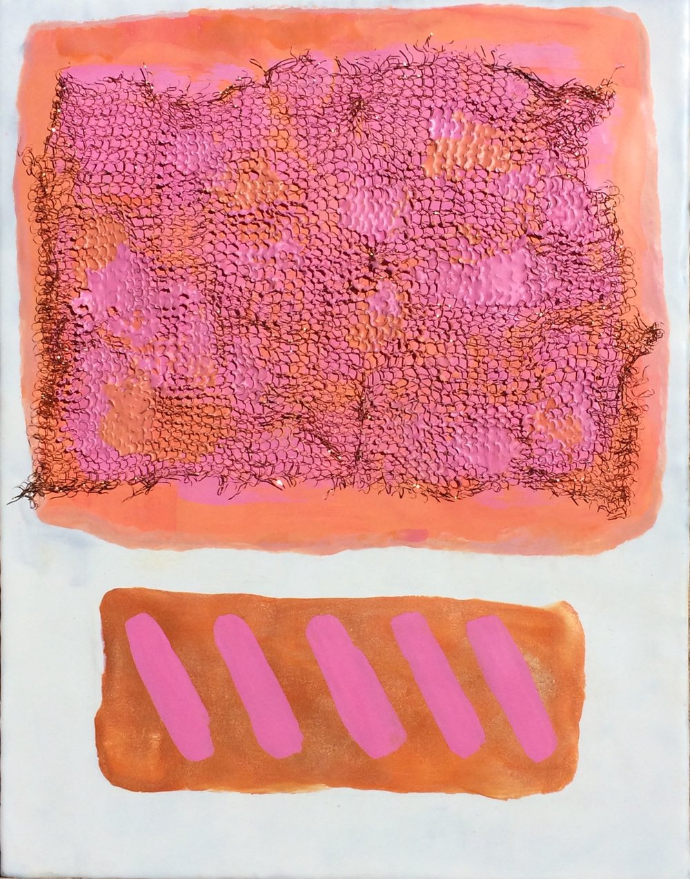 "Copper Candy 1, Encaustic, Copper, 12"" x 16"", $400."