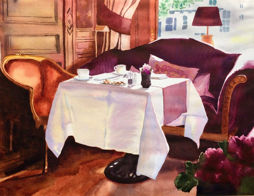 "Breakfast at the Hotel, 29"" x 19"""