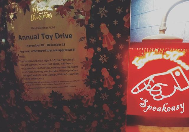 Unwrapped toys piling up? Holiday spirit flowing through you? Drop off some toys at @goldenmoonspeakeasy so these tots have something to play with! Happy Holidays!