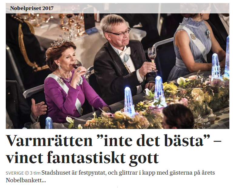 Queen Silvia of Sweden sips the 2014 Formiga de Vellut at the Nobel Prize Banquet.