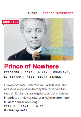 Catch Selam Bekele's experimental film, Prince of Nowhere at this years CinemAfrica Film Festival in Stockholm, Sweden