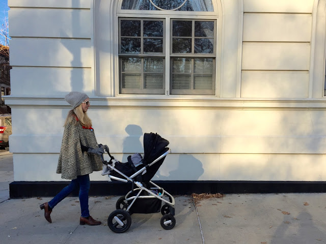 jenee sais quoi_nua_cape_winter style_vintage cape_mom pushing stroller