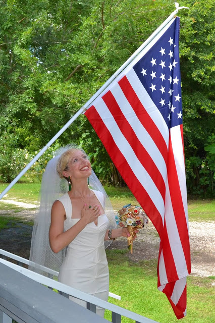 American Flag, 4th of July, Wedding Dress