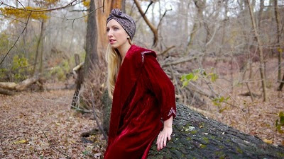zara turban, faux thigh highs, red velvet cape coat