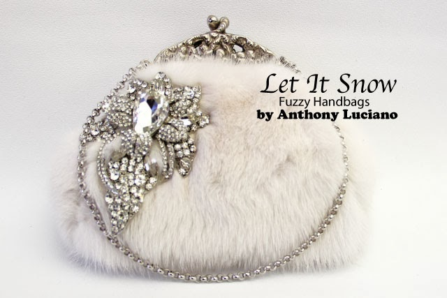 white fur, mink, handbag, anthony luciano, vintage bag, crystals