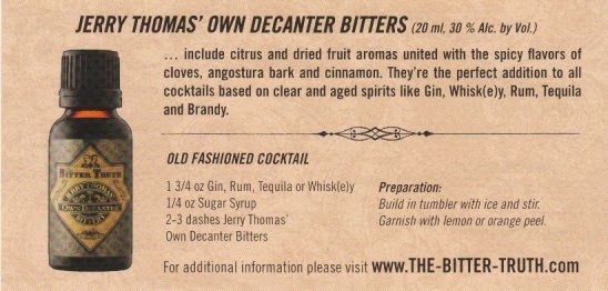 jerry thomas bitters, cocktail recipe, old fashioned