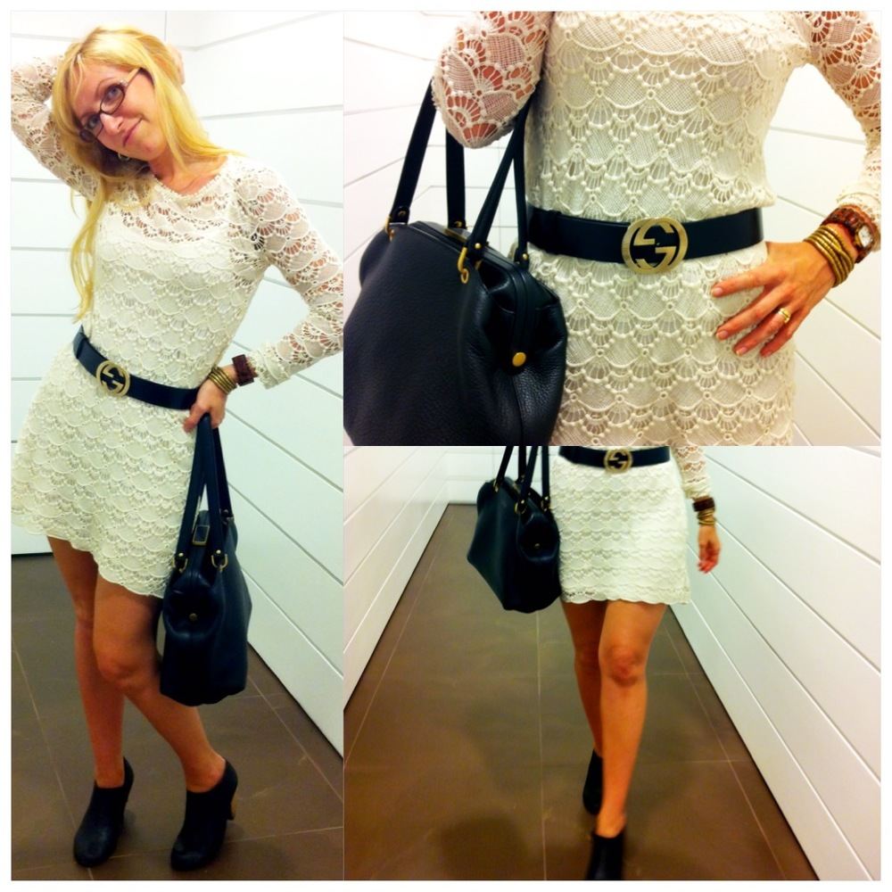 Lace Dress, Gucci Belt, Booties