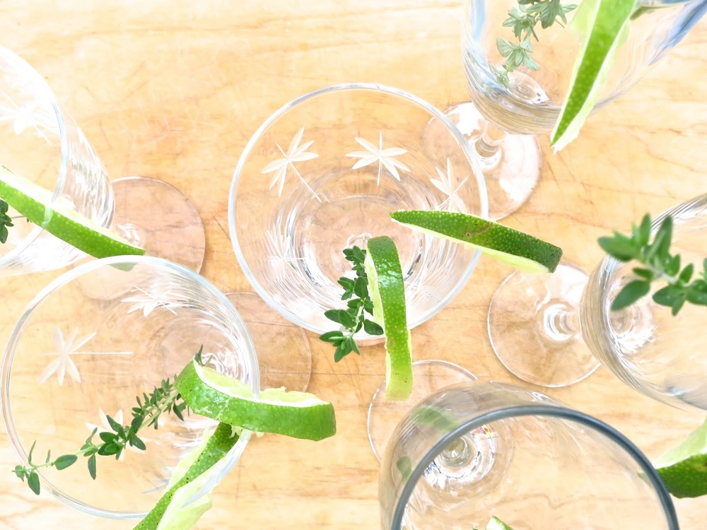 Vintage Cocktail Glasses with Thyme garnish