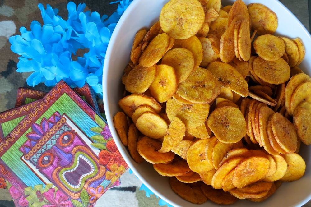 Purim Luau, plantain chips, tiki