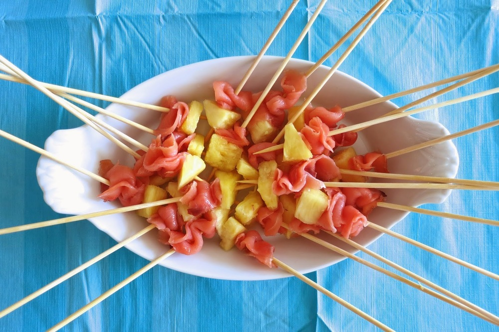 Purim Luau, lox and pineapple kabob