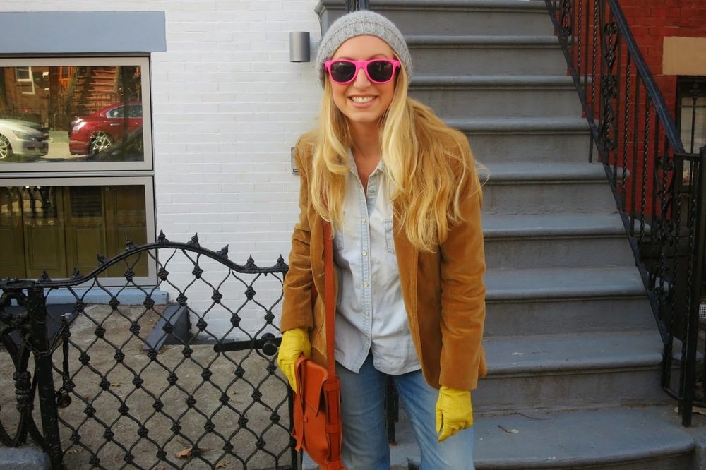 valor jacket_ double denim_ knitted hat_pink sunglasses_mignon faget handbag