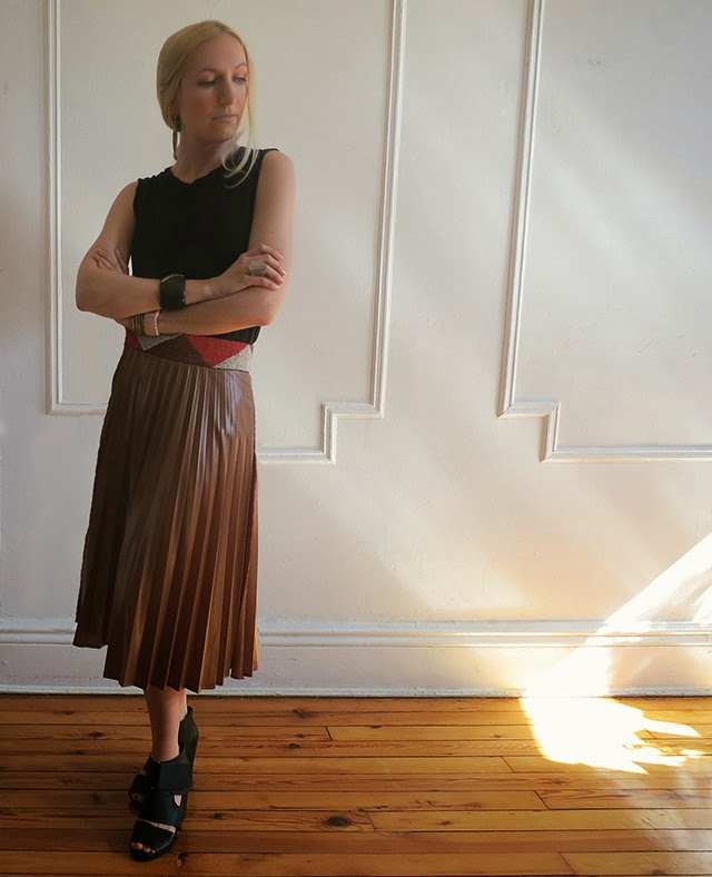 beaded belt, pleated skirt, rachel comey, mignon faget, james perse
