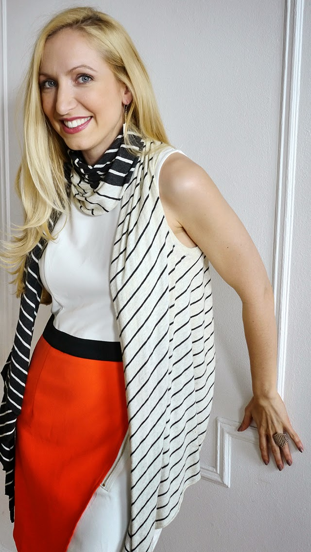 color block dress, orange, white, stripes, stripe scarf, blonde, spring fashion