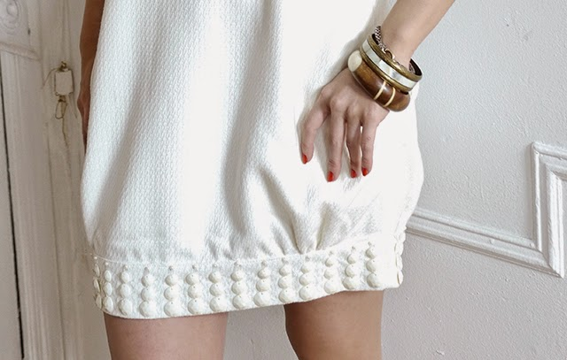 white dress, spring fashion, mod dress, red nails, john hardy bracelet