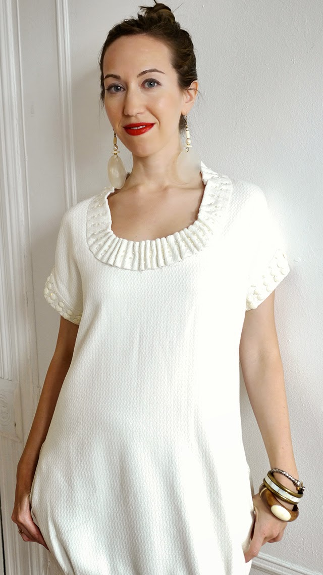 white dress,  spring fashion, mod dress, shell earings, red lipstick
