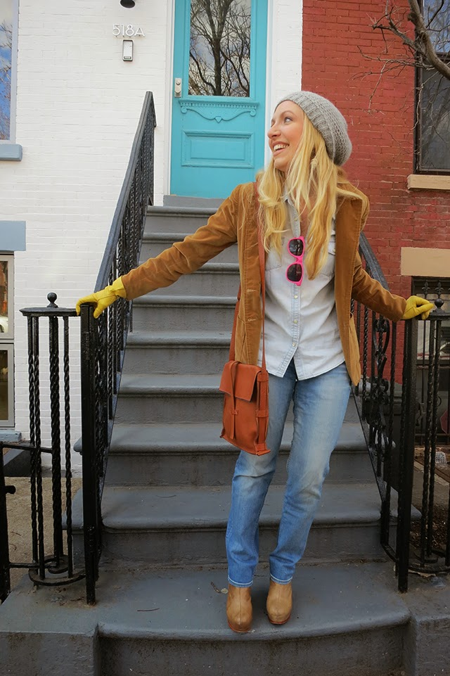 leather handbag, canadian tuxedo, valor jacket, brooklyn blogger, knitted hat