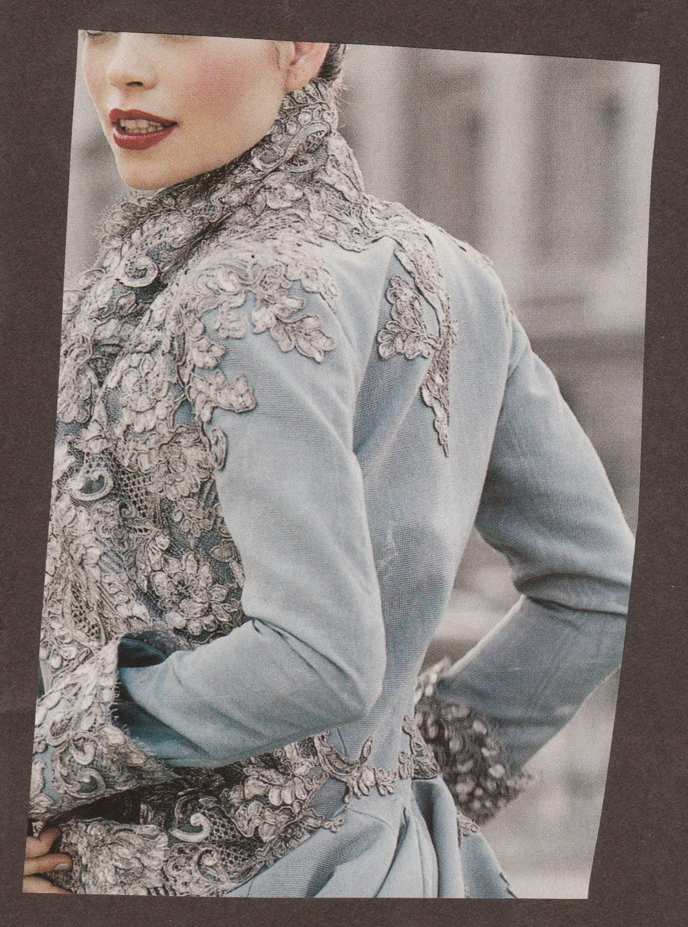 winter jacket_lace applique_smokey blue_ grey lace