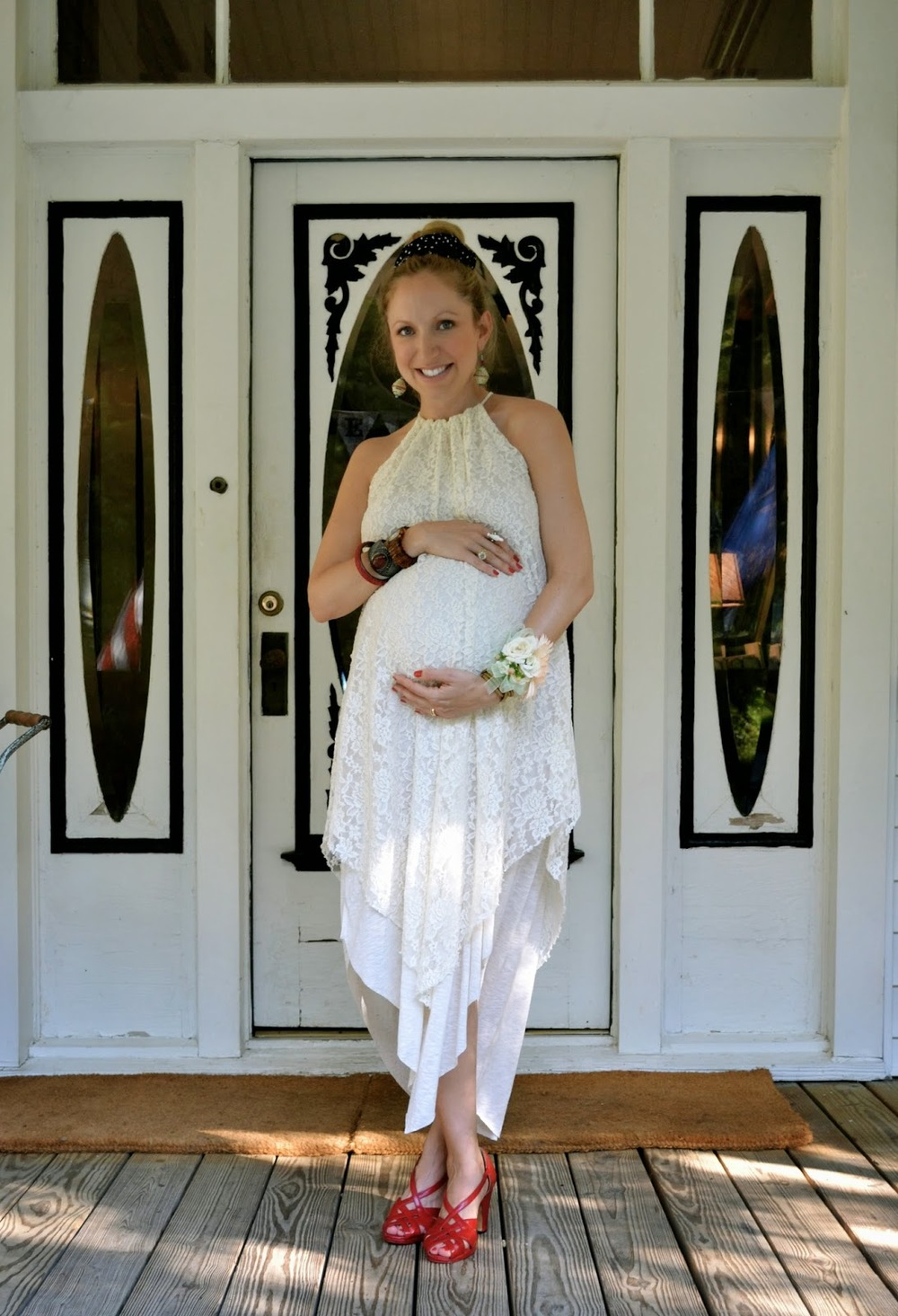baby bump_ maternity fashion_lace dress_ hemline new orleans_ baby shower_ethnic jewelry