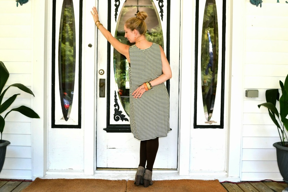 stripe dress_ orange jewelry_ le village B&B_ JuJu's Boutique_ fashion blogger_ fall fashion_style the bump