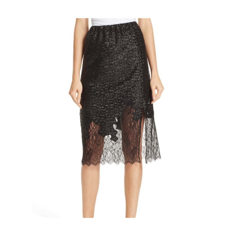 sequin and lace skirt