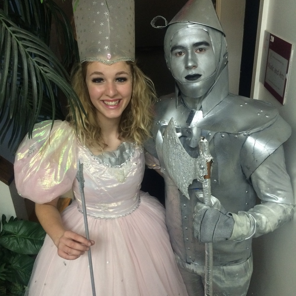 Glinda the Good Witch (Phynley Joel) and the Tin Man (Levi Snider)