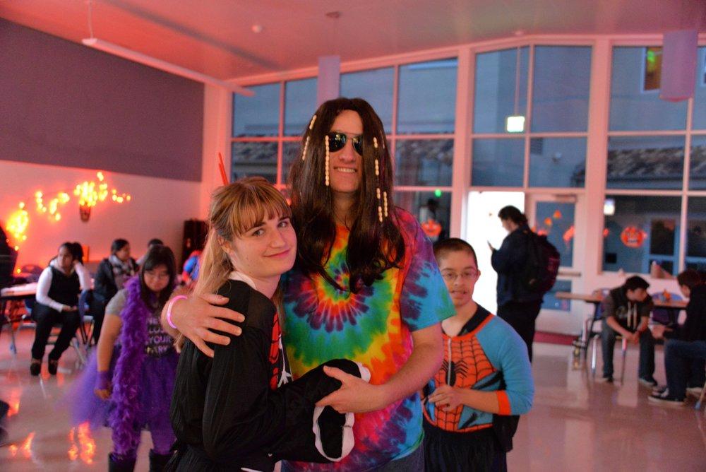 "Burlingame University students pose, in costume, at the annual Burlingame University ""Halloween"" Dance."