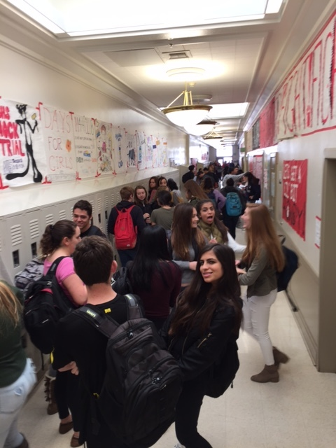 A typical crowded hallway in the A building