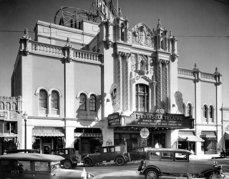 Photo credit: Burlingame Historical Society  Peninsular (later the Fox) Theatre on Burlingame Avenue where Fox mall is today. The theatre was demolished circa 1977.