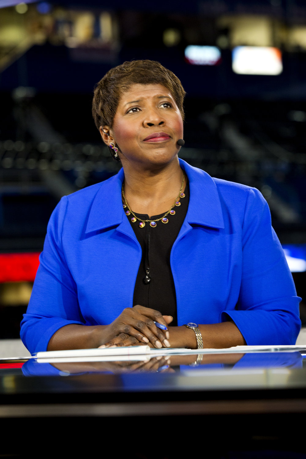 Photo courtesy of Wikimedia Commons/PBS NewsHour  Gwen Ifill hosts  PBS NewsHour  at the RNC in 2012.