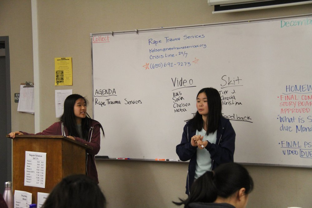 Mental Health Club presidents Emily Tam and Vivian Yuen lead a meeting to discuss the video project.