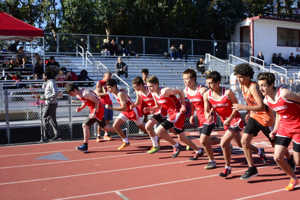 Some of last season's varsity boys compete in a meet against Woodside.A notable difference in the upcoming season is that only three BHS athletes will be entered in each event.