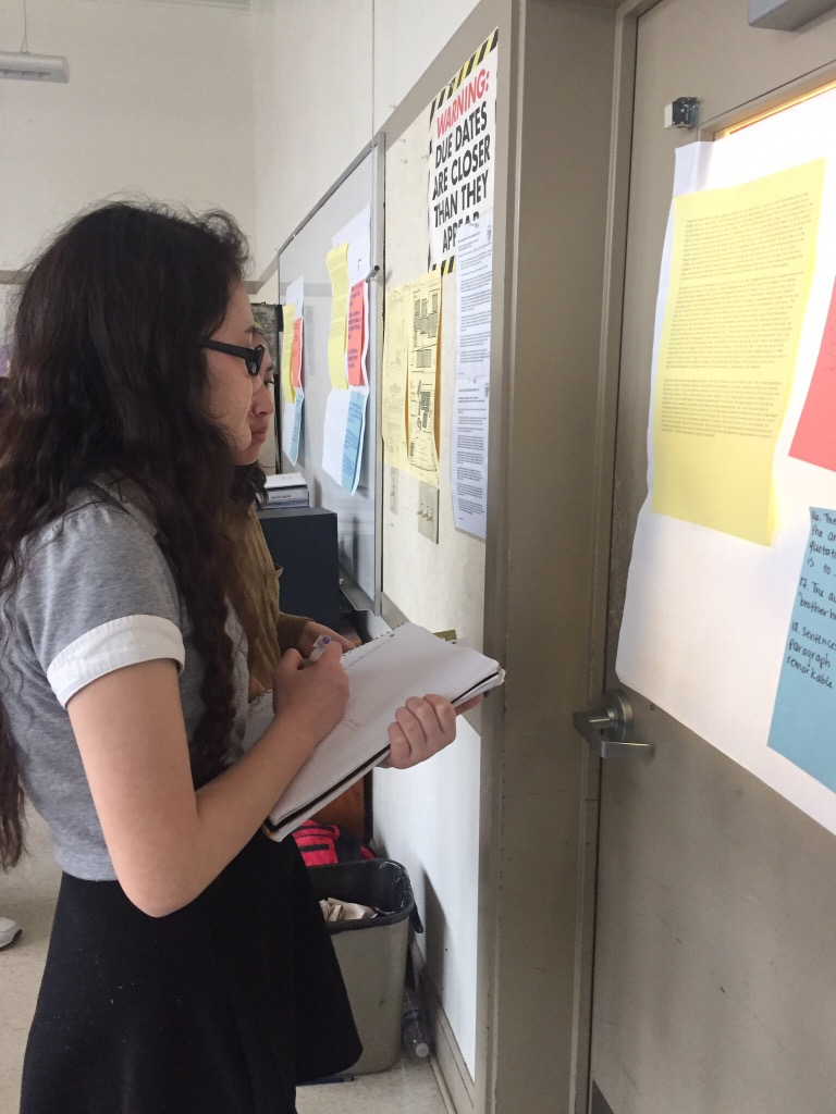 "Junior Shiloh Anderson studies Martin Luther King's ""Letter from Birmingham Jail"" in her AP Language class."