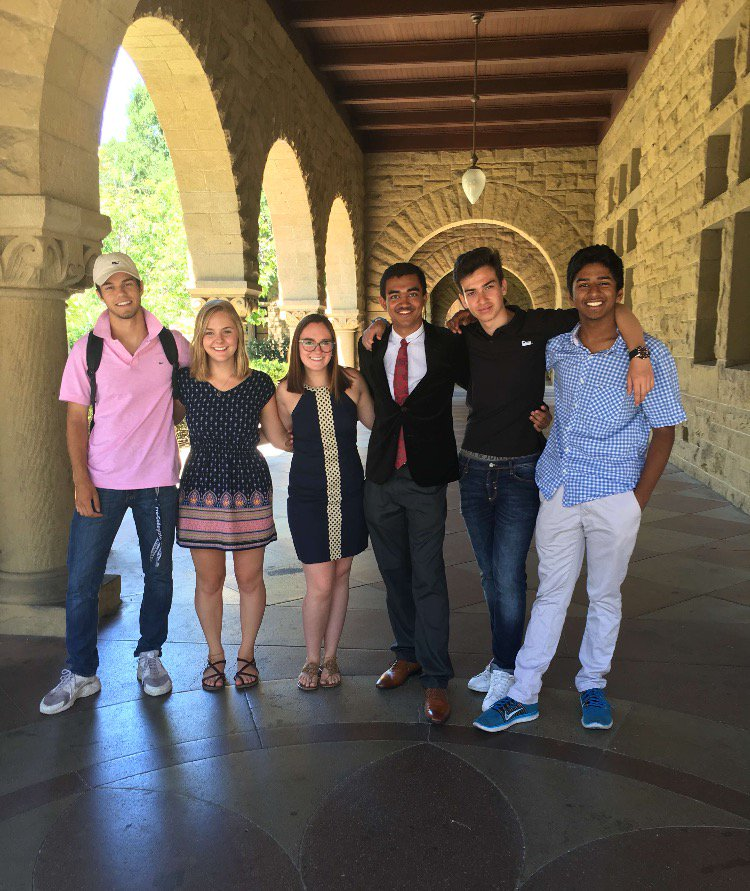 Zach Israelit and his cofounders pose for a picture at the Stanford campus, where they originally came up with Cosaint. Pictured (left to right): Zach Israelit, Nicole Lyell, Alexa Huether, Dev Ohja, Nestor Domingo, Gautham Pasupathy