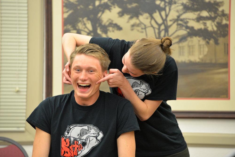 Senior Lorell Perillat and junior Brady Kiesling improvise in an onstage drama game.