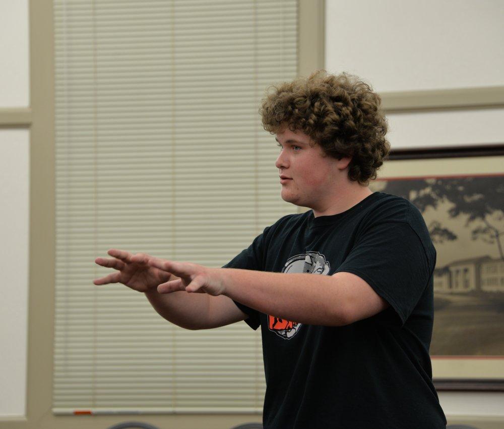 Freshman Joseph Koenig introduces a scene.