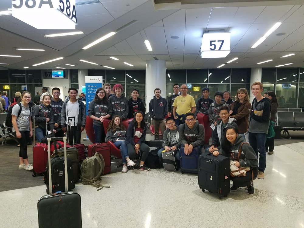 The talented Iron Panthers gather at SFO prepared for the challenging tournament in Houston, Texas.
