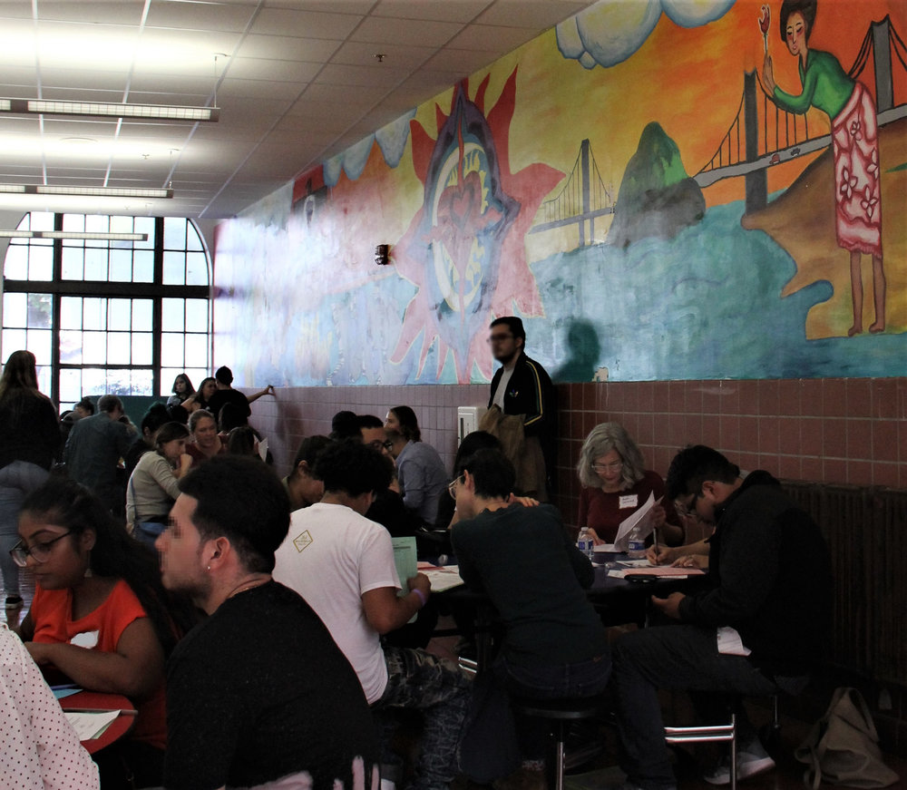 Immigrants work on DACA renewal applications at Mission High School