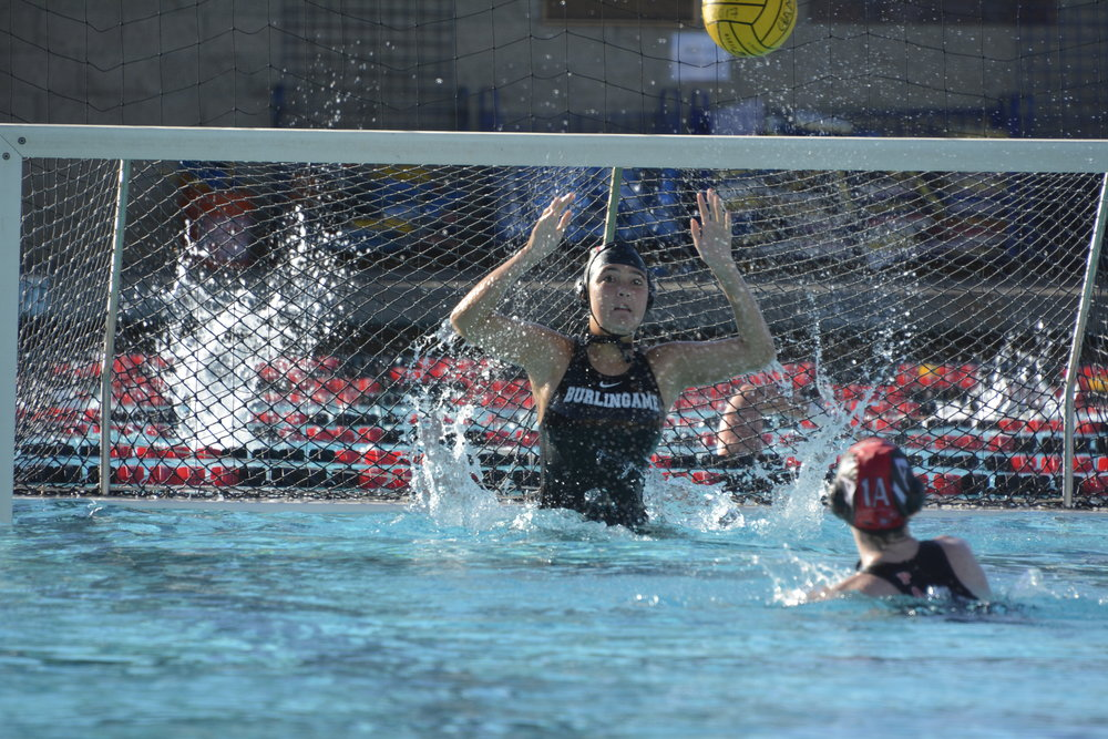 Junior goalie Tovia Sobel blocks a shot in the scrimmage against Archbishop Mitty High School.