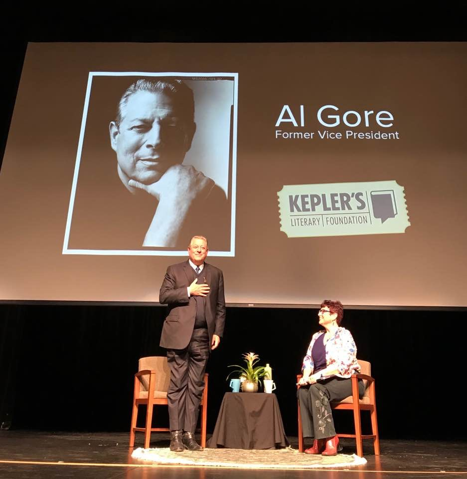 Former vice president Al Gore addresses his audience at Aragon High School. Photo courtesy of Jenna Smith.