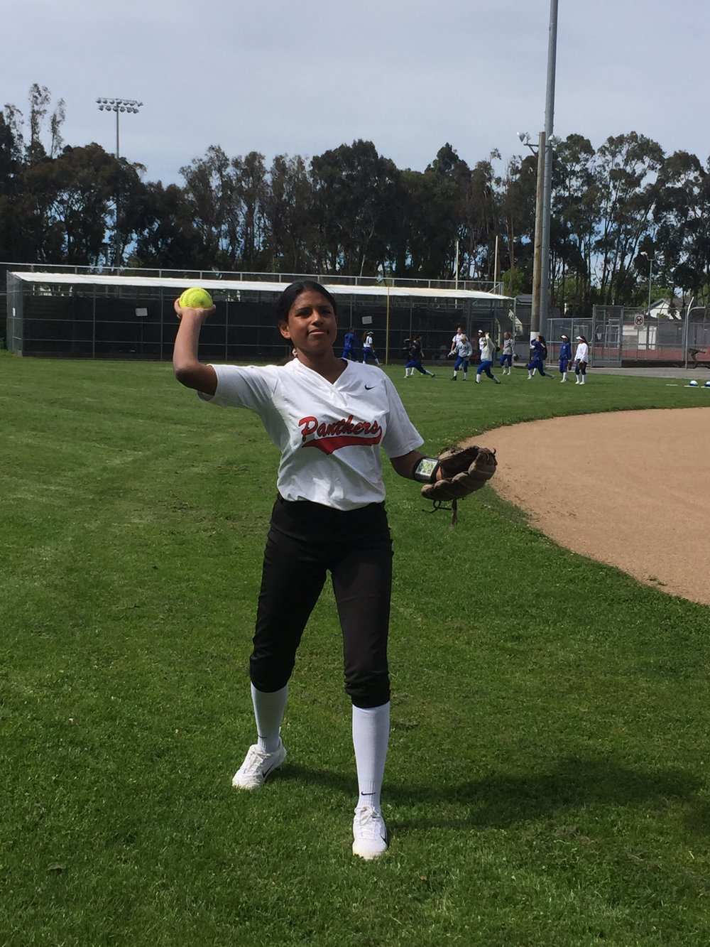 Senior Vavineh Jordan practices her pitches for the upcoming game versus Los Altos High School.