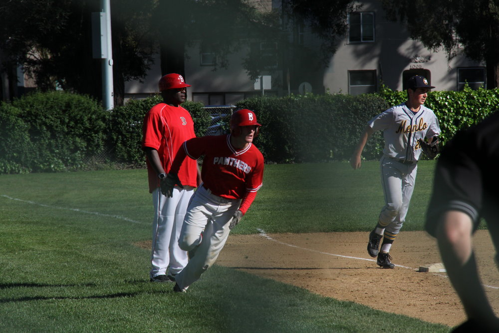 Senior Justin Brunicardi third base at their April 18th game against Menlo