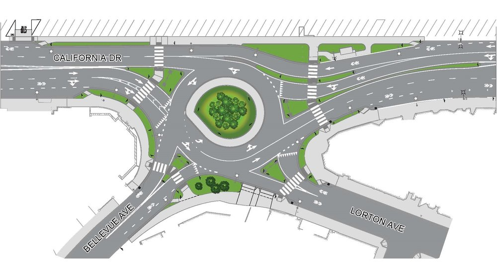 This graphic depicts the outline of the roundabout when it is finished with construction.