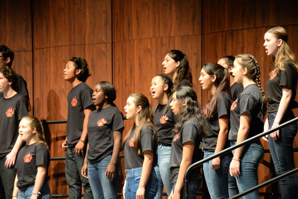 The Burlingame High School choir performs in their first performance of the school year.