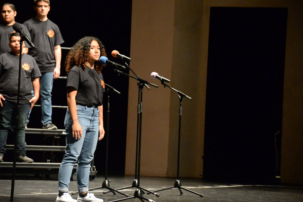 San Mateo High School student Ariana Lacson sings Adele's All I Ask.