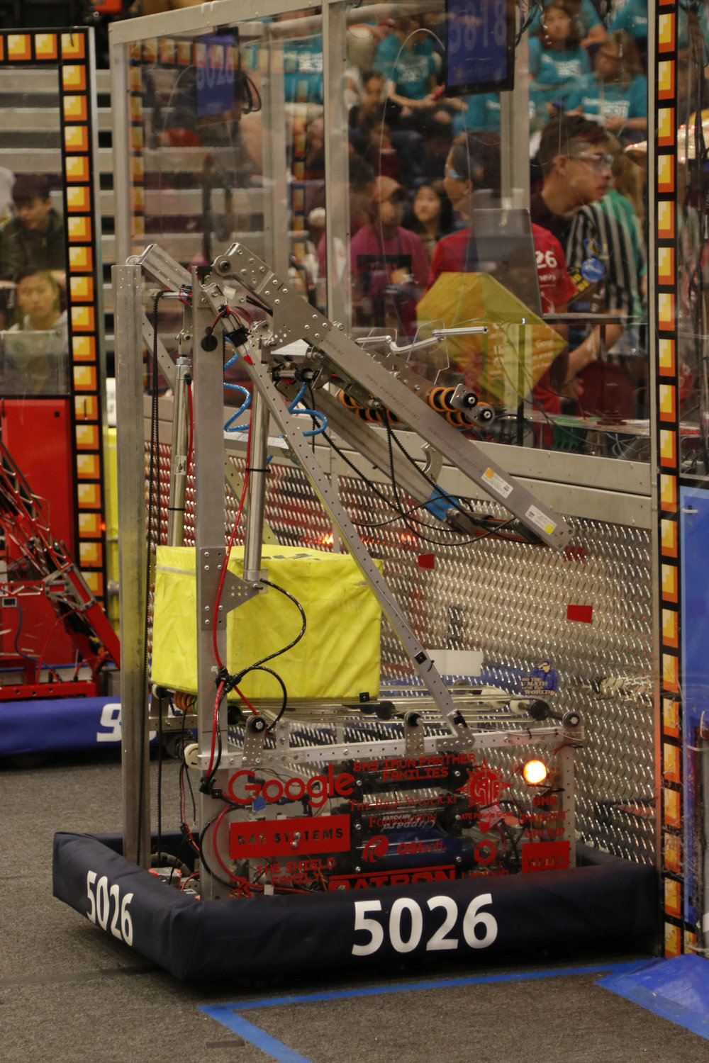 The Iron Panthers' robot, 'Guillotine', was used at their most recent tournament, Chezy Champs, September 30th.