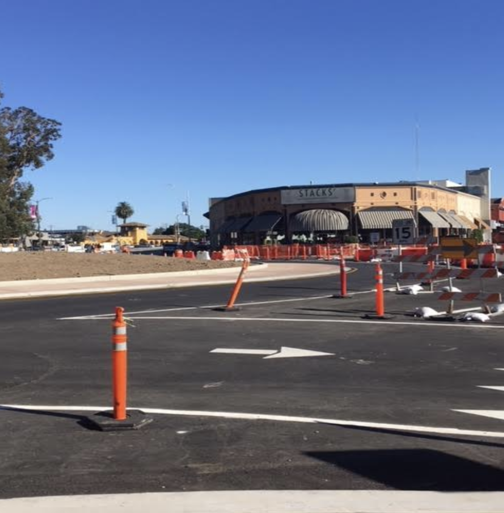 The roads providing access to the Burlingame Library and Burlingame Avenue are still closed. The interior of the median is also still in need of landscaping.