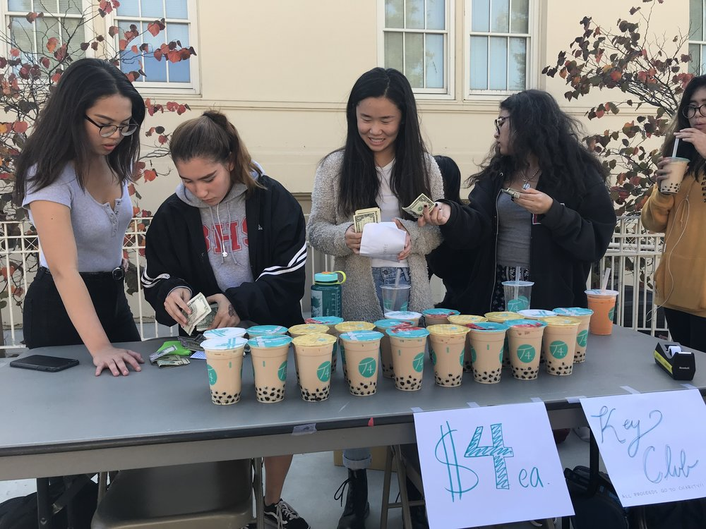 Lavilla (far left) and the rest of the Key Club sold boba on Oct. 11 to raise money for the Pediatric Trauma Program.